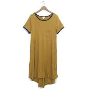 NWT LuLaRoe Carly Solid Mustard Yellow Swing Dress